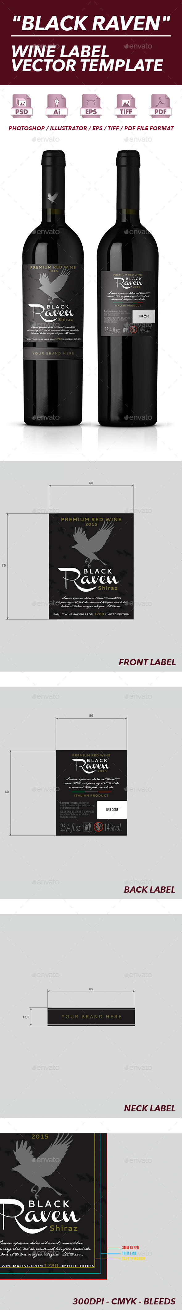 Red Wine Label Vector Template - Packaging Print Templates