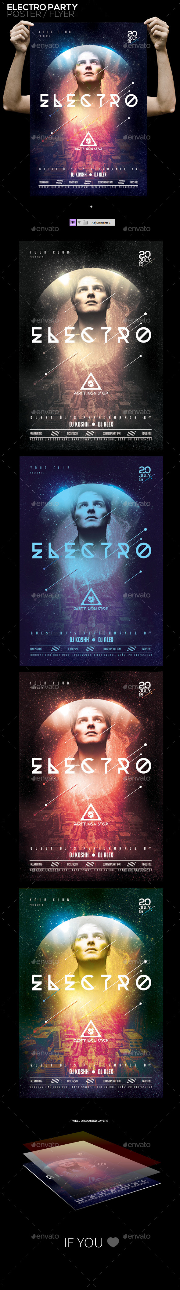 Electro Party PSD Poster/Flyer Template - Events Flyers