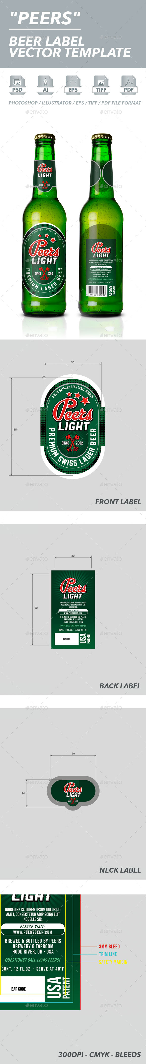 Beer Label Vector Template - Packaging Print Templates