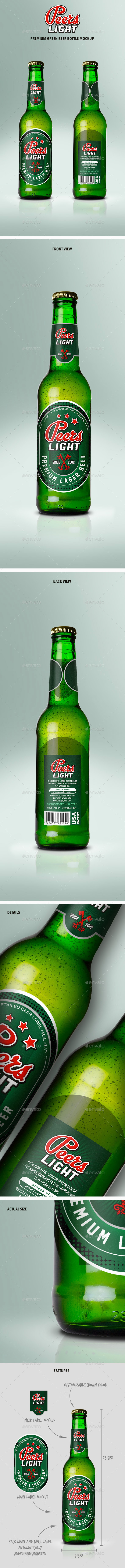 Premium Green Beer Bottle Mockup - Food and Drink Packaging