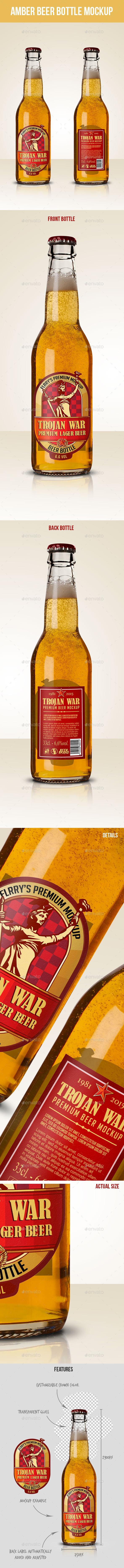 Premium Amber Beer Bottle Mockup - Food and Drink Packaging