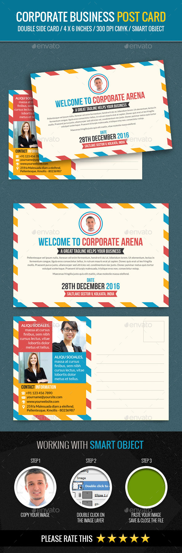 Corporate and Business PostCard Template - Cards & Invites Print Templates