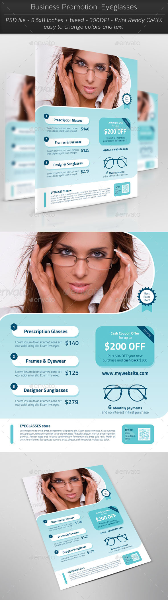 Business Promotion: Eyeglasses - Flyers Print Templates