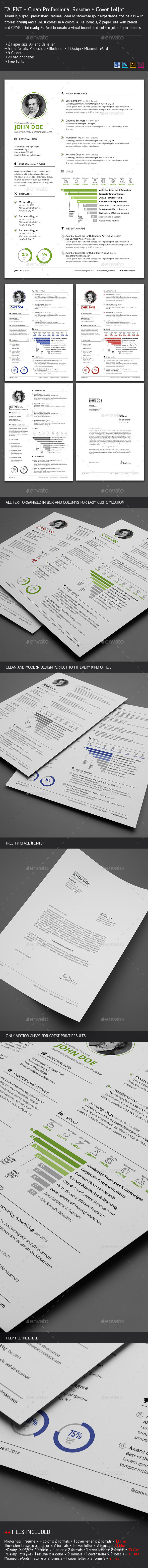 Clean Resume + Cover Letter - Resumes Stationery