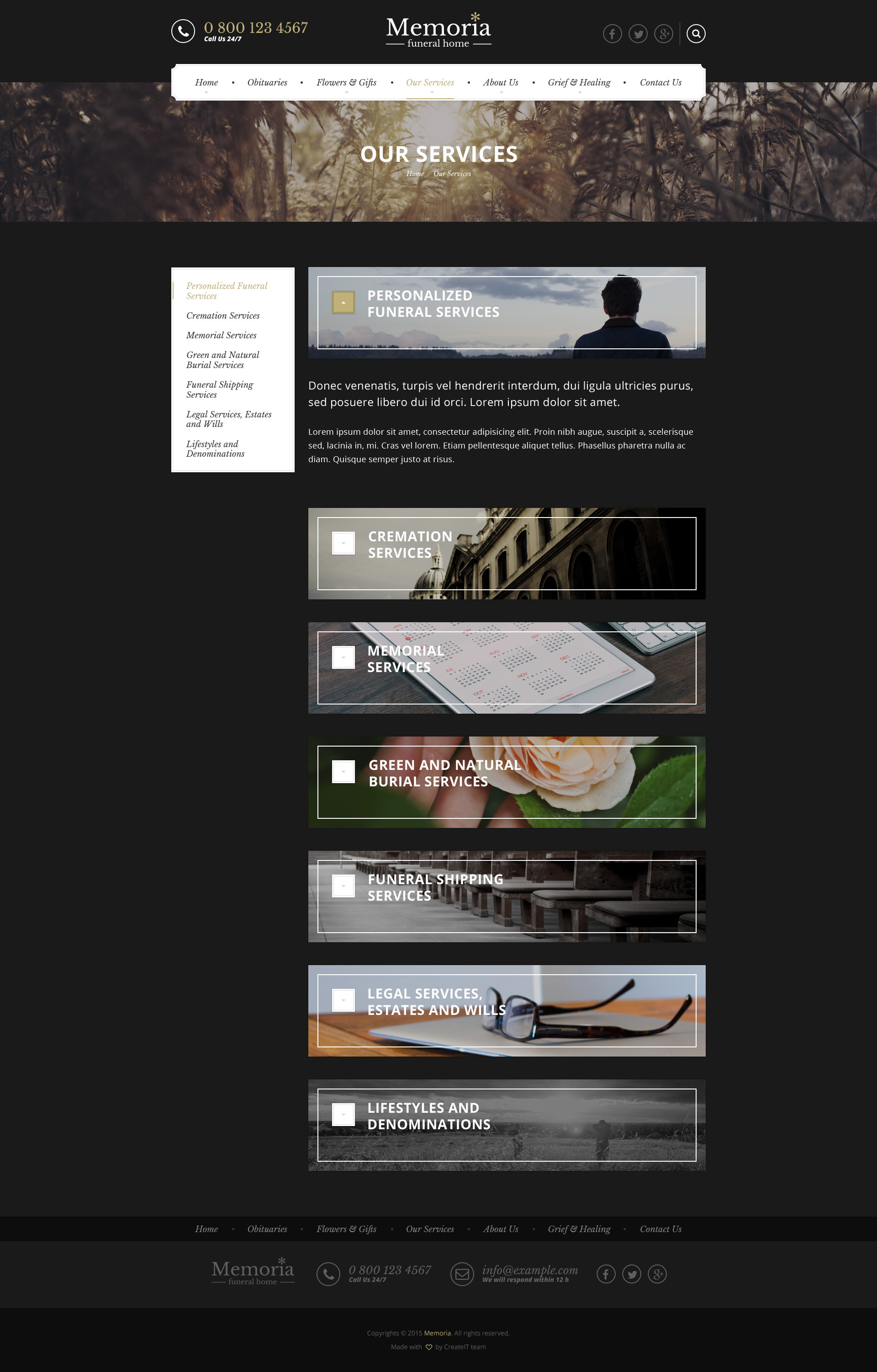 Memoria - Funeral Home PSD Template by createit-pl   ThemeForest