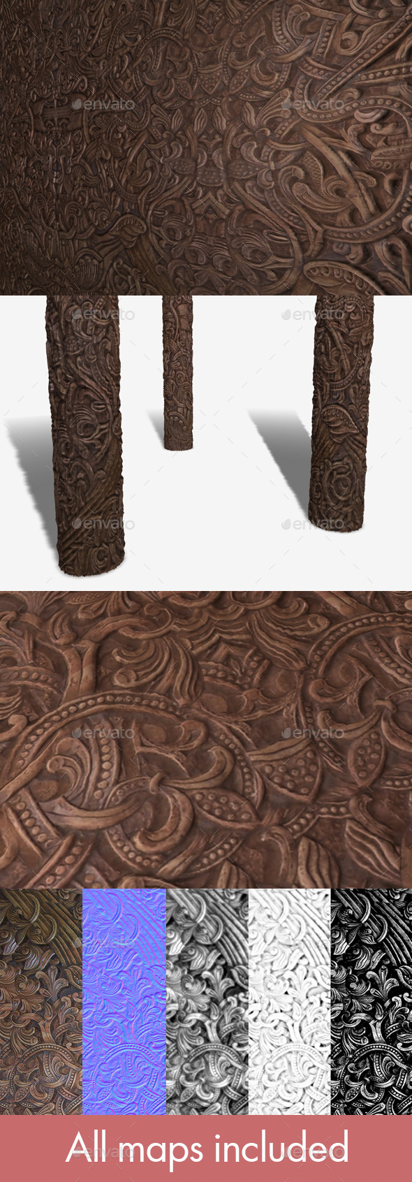 Norse Wooden Carving Seamless Texture - 3DOcean Item for Sale