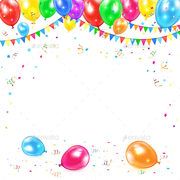 Background With Balloons And Confetti By Losw Graphicriver