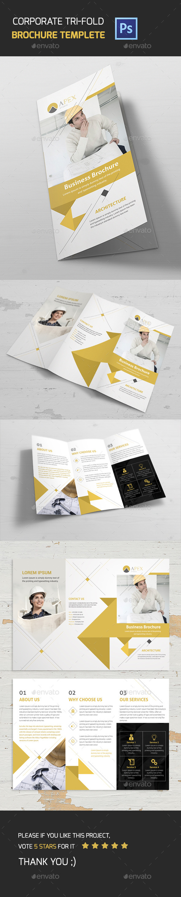 Corporate Tri-Fold Brochure - Corporate Business Cards