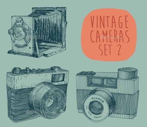 Set of Vintage Cameras - Decorative Symbols Decorative