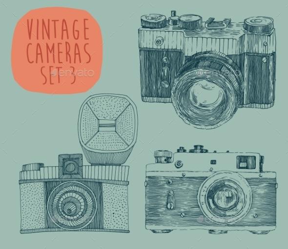 Set of Vintage Cameras - Decorative Symbols Decorative