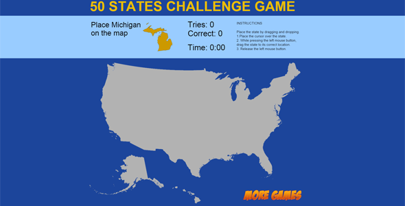 United States Map game - 50 States Challenge - CodeCanyon Item for Sale