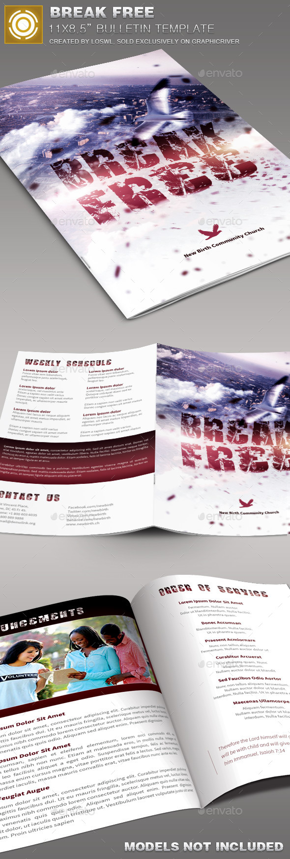 Break Free Church Bulletin Template - Informational Brochures
