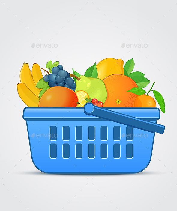 Shopping Basket with Fresh Fruit - Food Objects