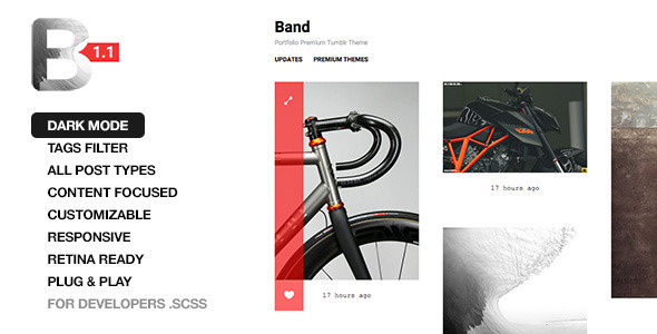 Band – Responsive Portfolio Tumblr Theme with Dark Mode