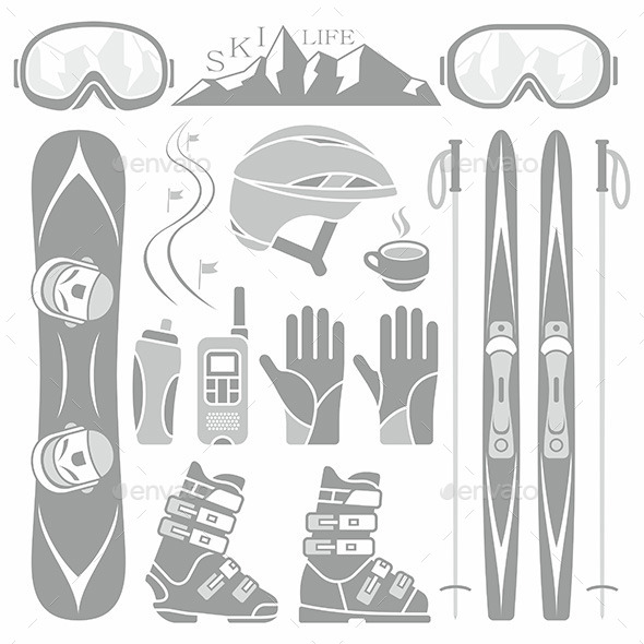 Set of Skiing and Snowboarding - Sports/Activity Conceptual