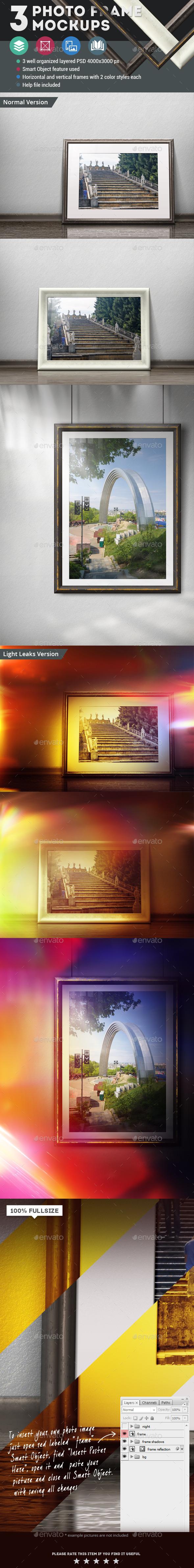 3 Photo Frame Mockups - Posters Print