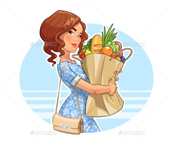 Girl with Package of Products - People Characters
