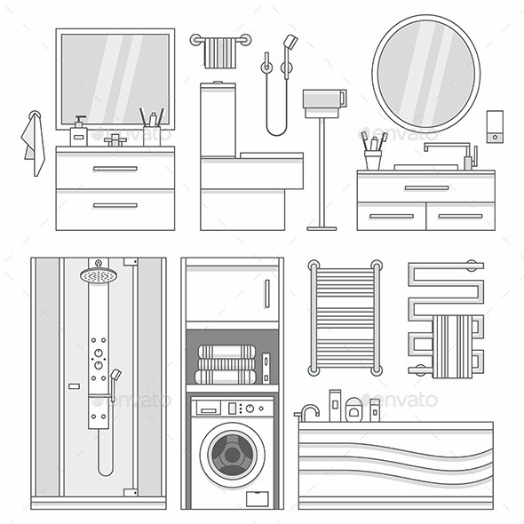 Set of Furniture in Bathroom - Man-made Objects Objects