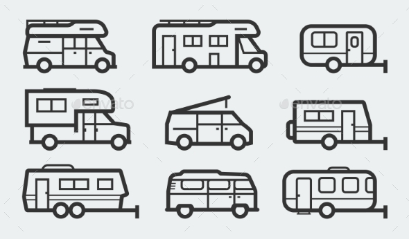 Recreational Vehicles Camper Vans Icons - Icons