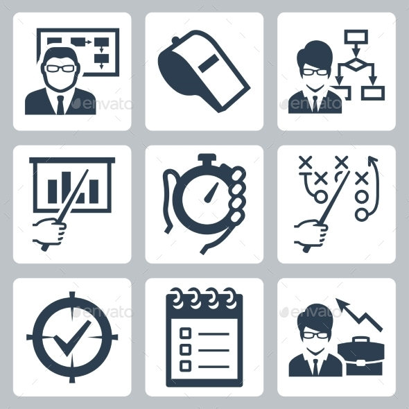Coaching, Training And Mentoring Vector Icon Set - Icons