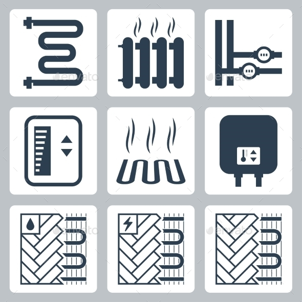 Vector Icon Set Of Heating And Plumbing - Icons
