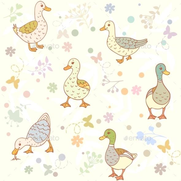 Ducks Seamless Pattern - Patterns Decorative