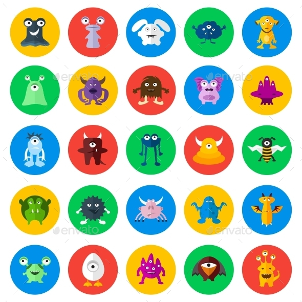 Monsters Circle Icons - Monsters Characters