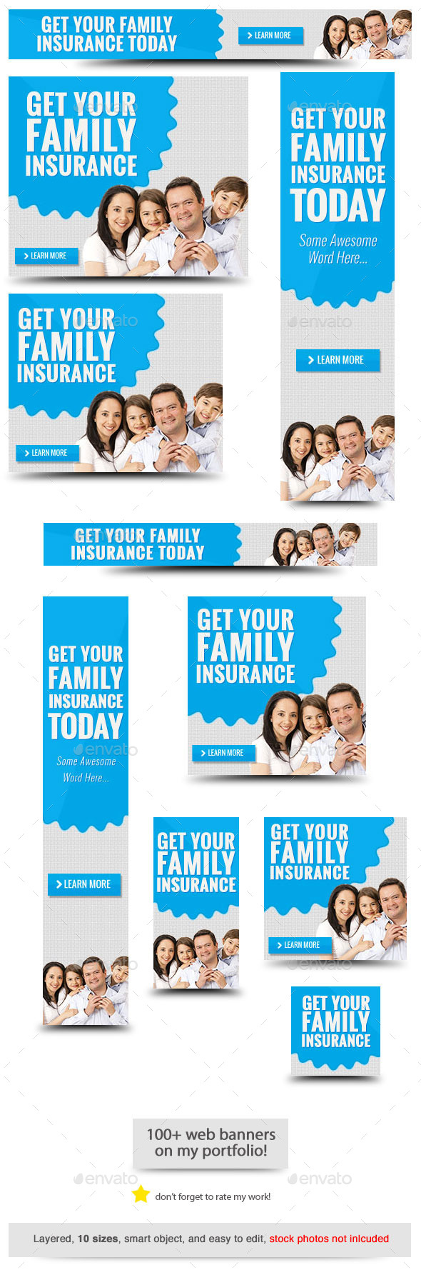 Insurance Web Banner Template - Banners & Ads Web Elements