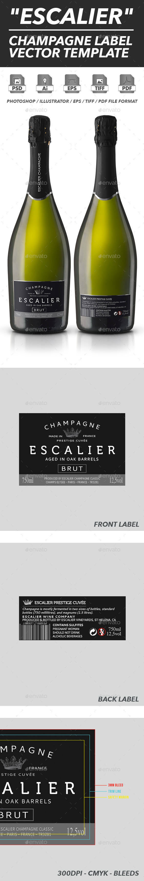 Champagne Label Vector Template By ShinyPixel GraphicRiver - Champagne label template