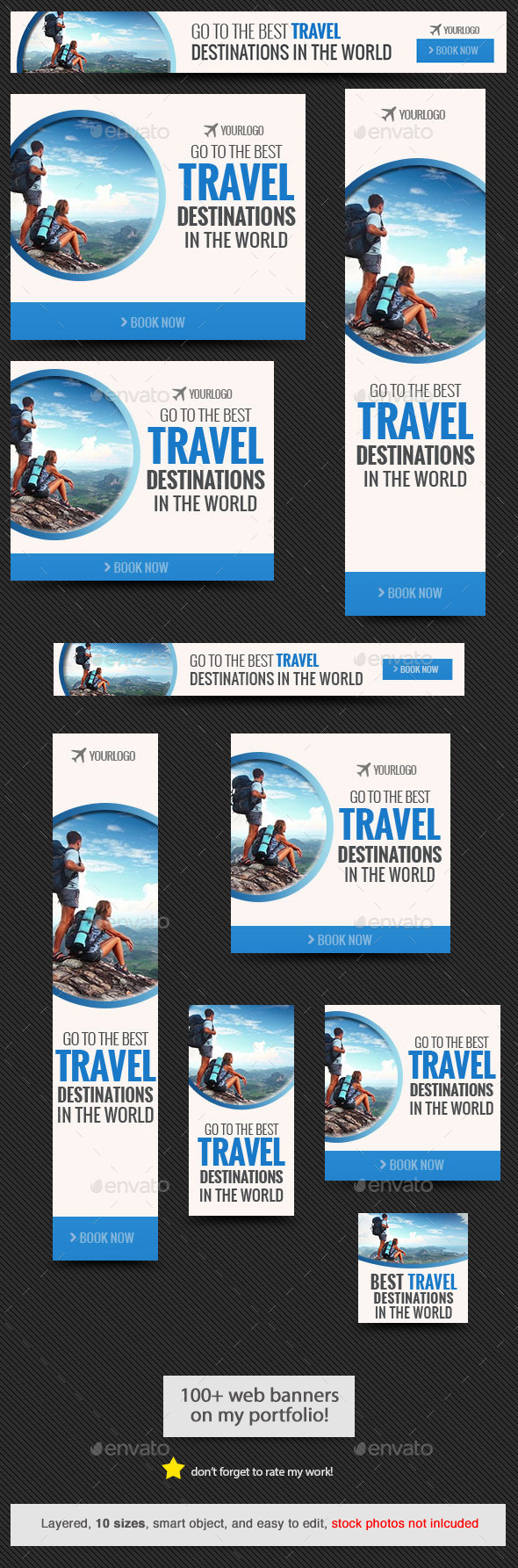 Travel Destination Web Banner Template - Banners & Ads Web Elements