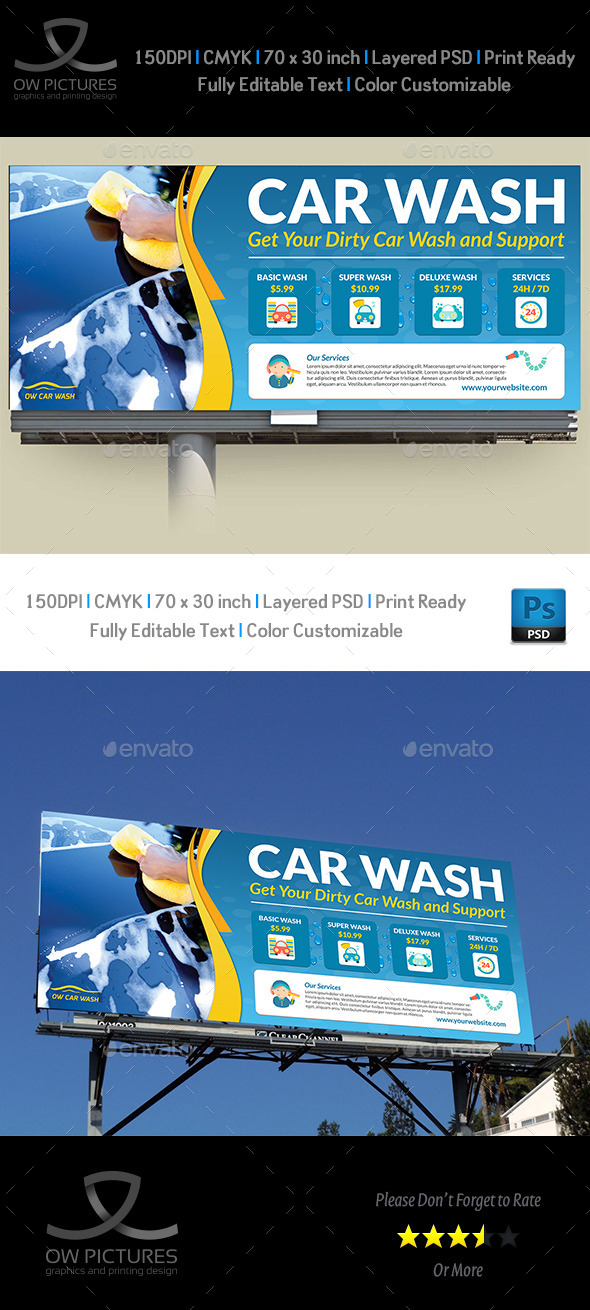 Car Wash Service Billboard - Signage Print Templates