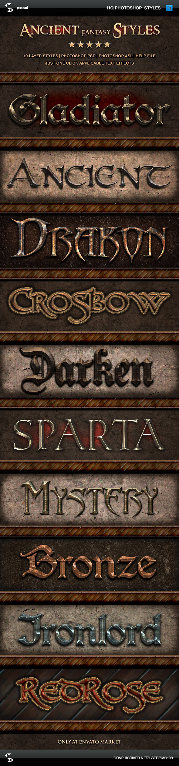 Ancient Fantasy Styles - Epic Text Effects - Text Effects Styles