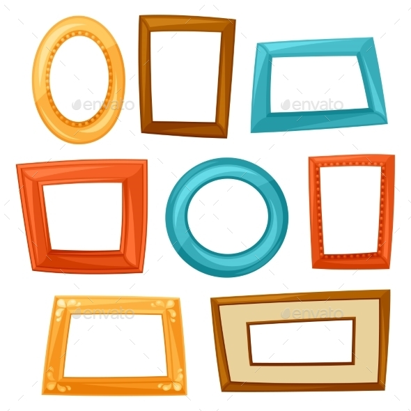 Set Of Color Various Frames On White Background - Objects Vectors