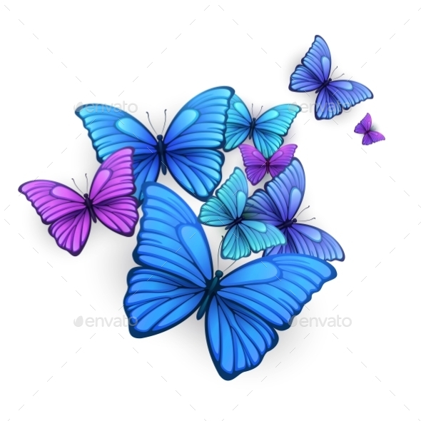 Vector Butterflies Background Design.  - Flowers & Plants Nature