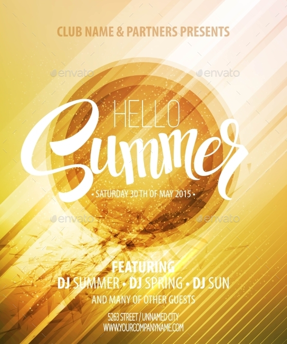 Summer Party. Template Poster. Vector Illustration - Web Elements Vectors