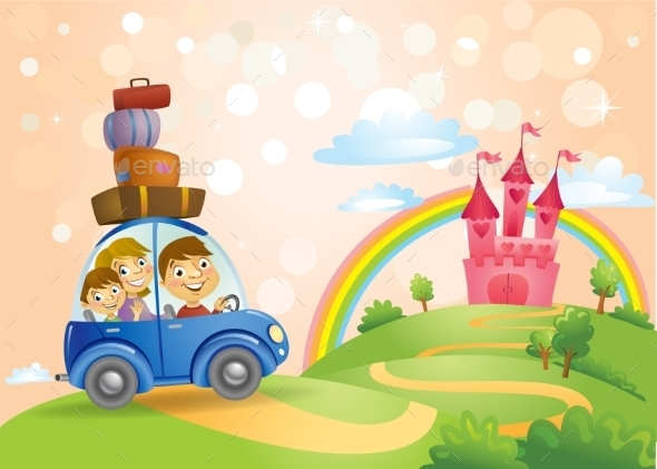 Family Going To The Fairy Tale Castle. - People Characters