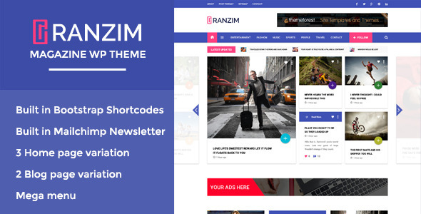 Ranzim - Responsive Magazine WordPress Theme - News / Editorial Blog / Magazine