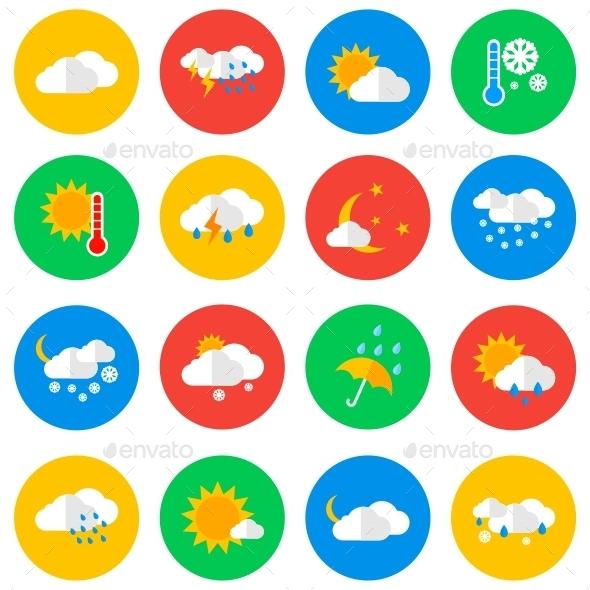 Weather Circle Icons - Web Icons