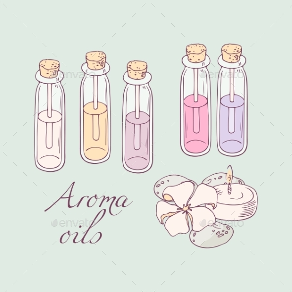 Aromatherapy Oils For Spa Hand Drawn Vector - Miscellaneous Vectors