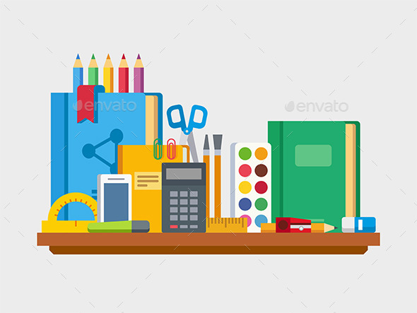 School Education Items On Table - Objects Vectors