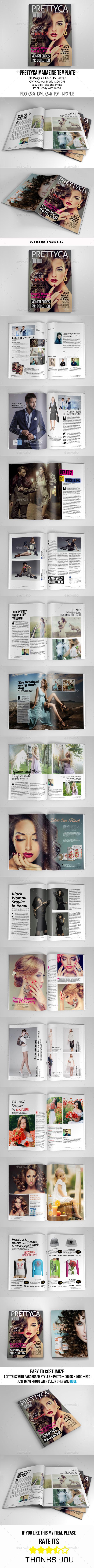 Prettyca Magazine Vol.2 A4/US Letter - Magazines Print Templates