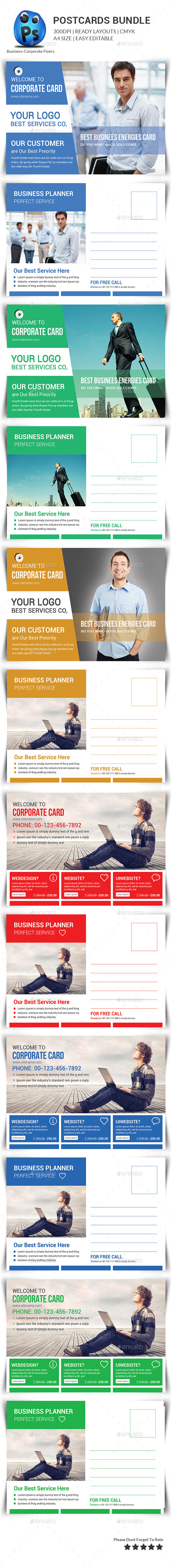 Corporate Business Postcard Bundle - Cards & Invites Print Templates