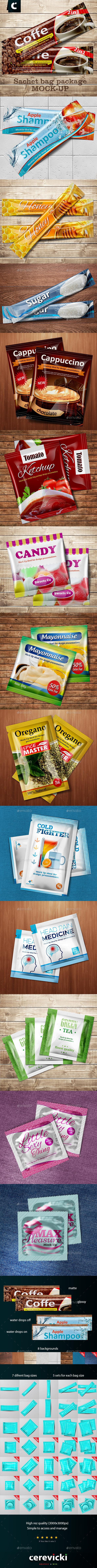 Sachet Foil bag package mock-up - Food and Drink Packaging