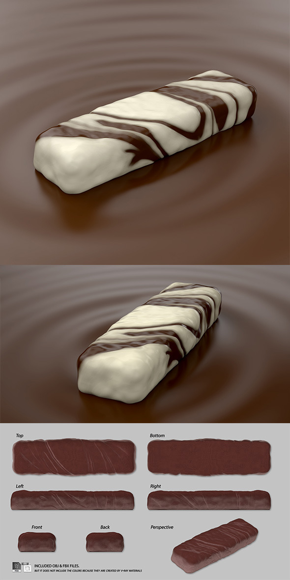 Marbled Chocolate Bar on Mousse - 3DOcean Item for Sale