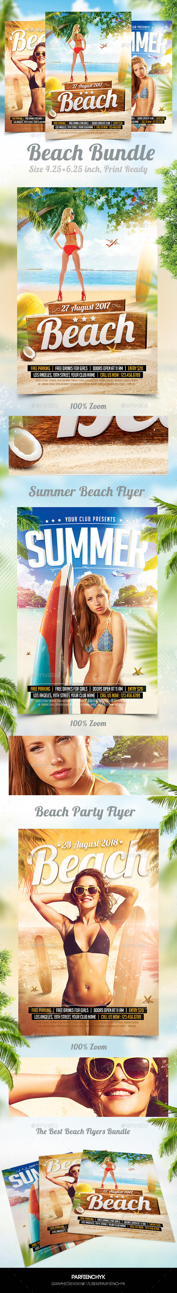Summer Beach Party Flyers Bundle - Clubs & Parties Events