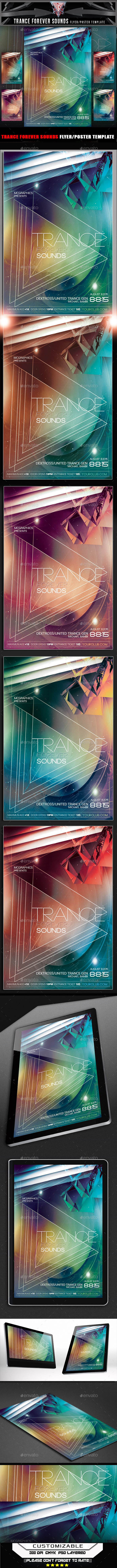 Trance Forever Sounds Flyer Template - Flyers Print Templates