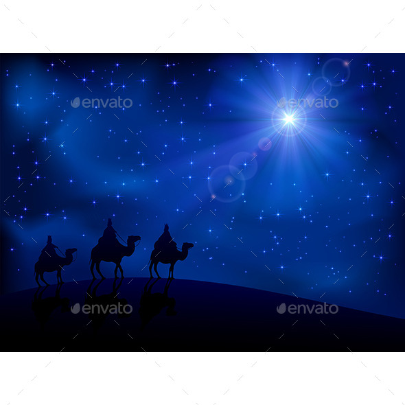 Three Wise Men and Star - Religion Conceptual