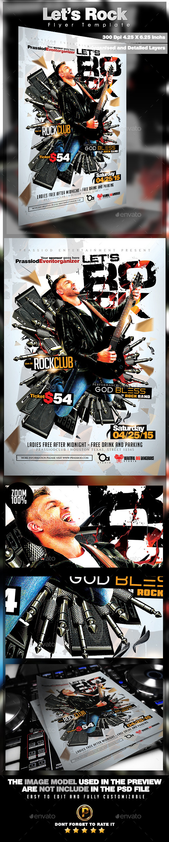 Let's Rock Flyer Template - Concerts Events