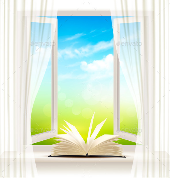 Background With An Open Window And Open Book. - Backgrounds Decorative