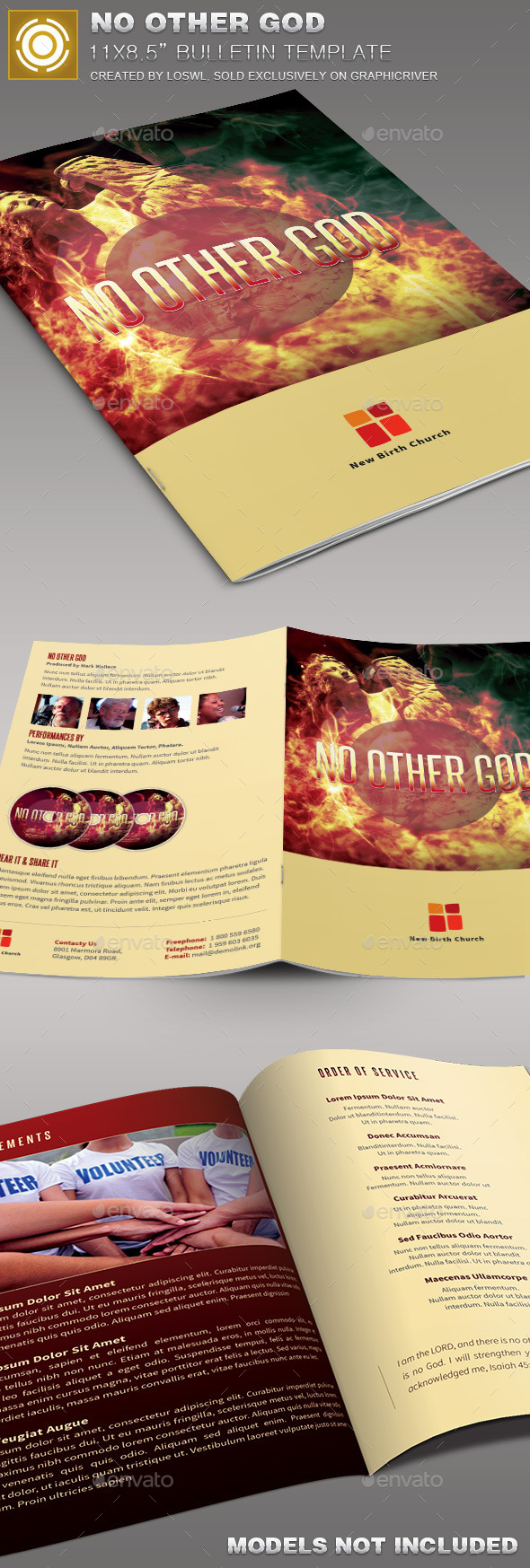 No Other God  Church Bulletin Template - Informational Brochures